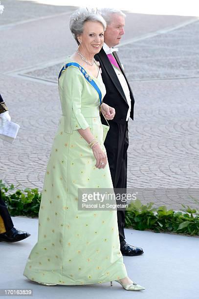 Princess Benedikte of Denmark and Richard Prince of SaynWittgensteinBerleburg attend the wedding of Princess Madeleine of Sweden and Christopher...