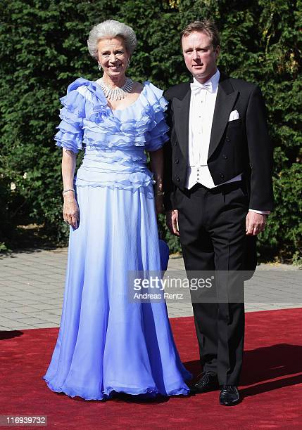 Princess Benedikte of Denmark and son Prince Gustav zu SaynWittgensteinBerleburg arrive for the wedding of Princess Nathalie zu...