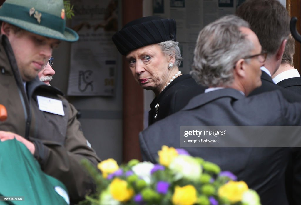 Princess Benedikte of Denmark arrives at the funeral service for her deceased husband Prince Richard of Sayn-Wittgenstein-Berleburg (1934 - 2017) at the Evangelische Stadtkirche on March 21, 2017 in Bad Berleburg, Germany. Prince Richard, husband of Princess Benedikte of Denmark, died suddenly on March 13, 2017 at age 83.