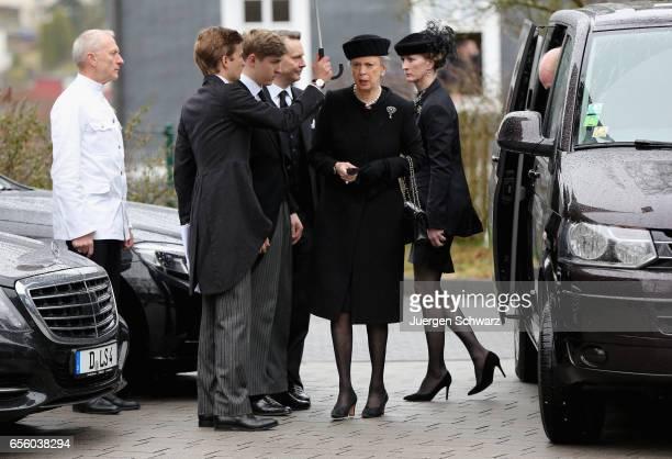 Princess Benedikte of Denmark arrives with Princess Nathalie zu SaynWittgenstein at the funeral service for her deceased husband Prince Richard of...