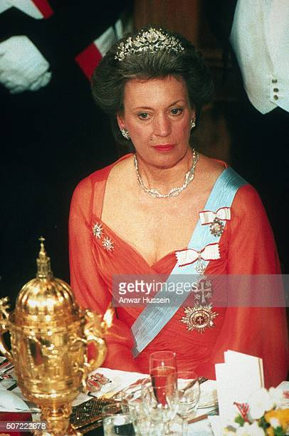 Princess Benedikte of Denmark attends London's Lord Mayor's banquet on May 08 1995 in London England
