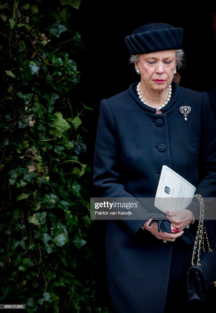 Princess Benedikte of Denmark attends the funeral of Prince Richard at the Evangelische Stadtkirche on March 21, 2017 in Bad Berleburg, Germany. Prince Richard, husband of Princess Benedikte of Denmark, died suddenly on March 13, 2017 at age 83.