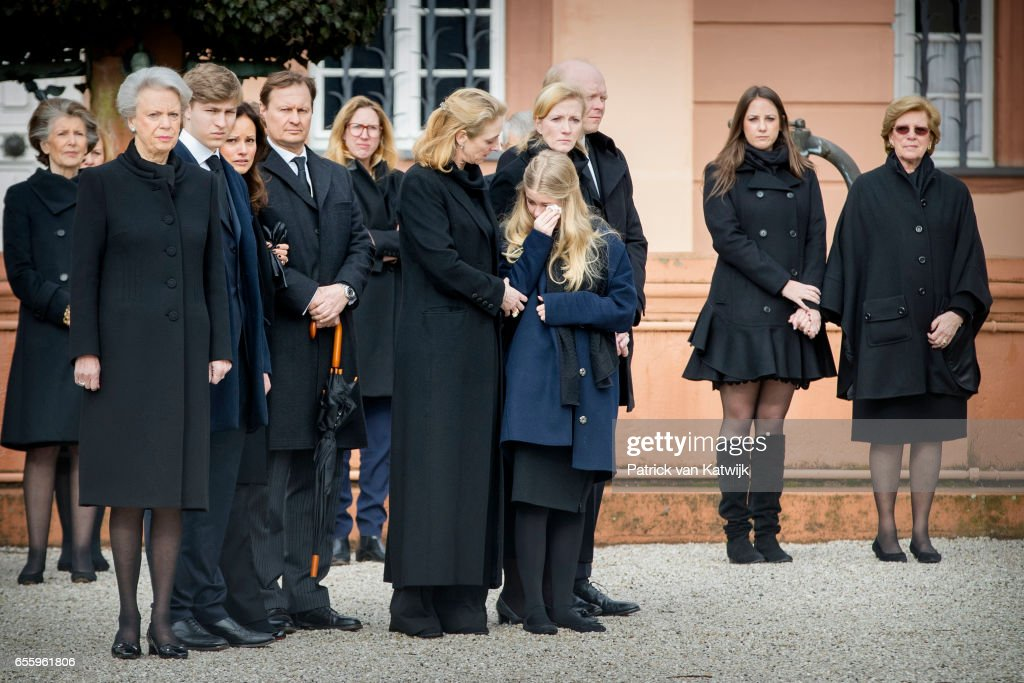Princess Benedikte of Denmark, Count Richard, Carina Axelsson, guest, Princess Alexandra zu Sayn-Wittgenstein-Berleburg, Countess Ingrid, Princess Nathalie zu Sayn-Wittgenstein-Berleburg and her husband Alexander Johannsmann attend the funeral service of Prince Richard zu Sayn-Wittgenstein-Berleburg at the Evangelische Stadtkirche on March 21, 2017 in Bad Berleburg, Germany. Prince Richard, husband of Princess Benedikte of Denmark, died suddenly on March 13, 2017 at age 83.