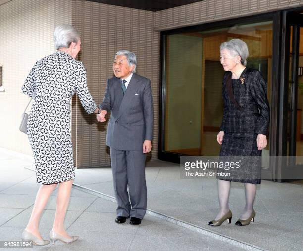 Princess Benedikte of Denmark is welcomed by Emperor Akihito and Empress Michiko prior to their meeting at the Imperial Palace on April 9 2018 in...