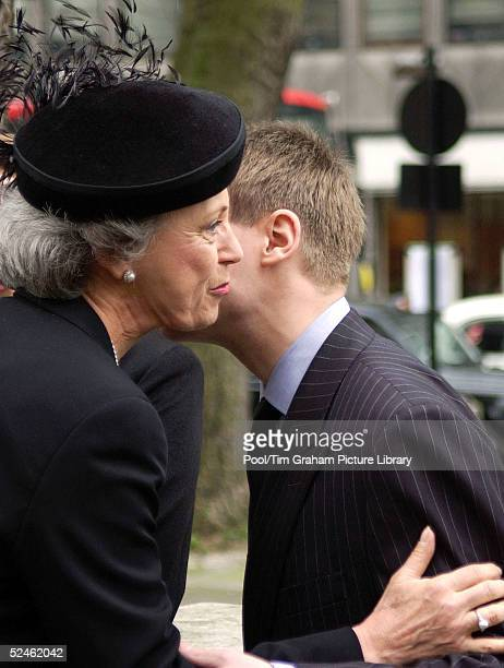 Princess Benedikte of Denmark kisses the Earl of Ulster as they attend the memorial service for HRH Princess Alice at St Clement Danes February 2...