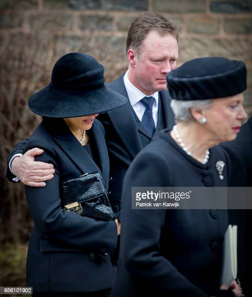 Princess Benedikte of Denmark Prince Gustav and Carina Axelsson attends the funeral of Prince Richard at the Evangelische Stadtkirche on March 21...