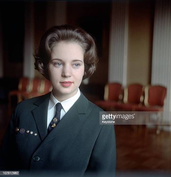Princess Benedikte of Denmark wearing a uniform 1965