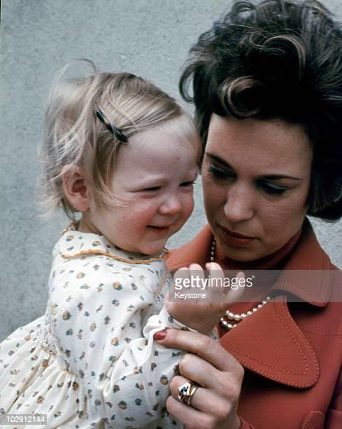 Princess Benedikte of Denmark with her baby daughter Princess Alexandra at Berleburg West Germany 1972