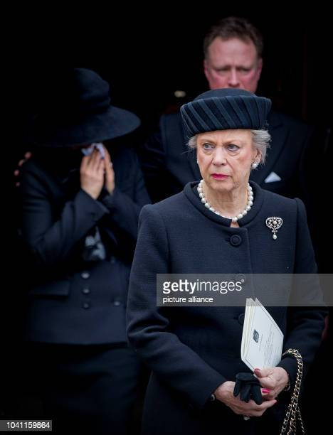 Princess Benedikte Prince Gustav and Carina Axelsson attend the funeral service of Prince Richard zu SaynWittgensteinBerleburg at the Evangelische...