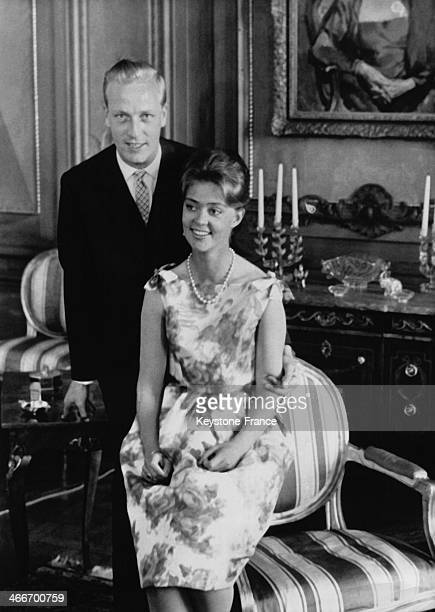Princess Birgitta of Sweden and her fiance Prince Johann of Hohenzollern at the Royal Palace on May 17 1961 in Stockholm Sweden