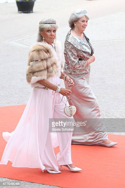 Princess Birgitta of Sweden and Princess Margaretha Mrs Ambler sisters of King Carl XVI Gustaf of Sweden attend the royal wedding of Prince Carl...