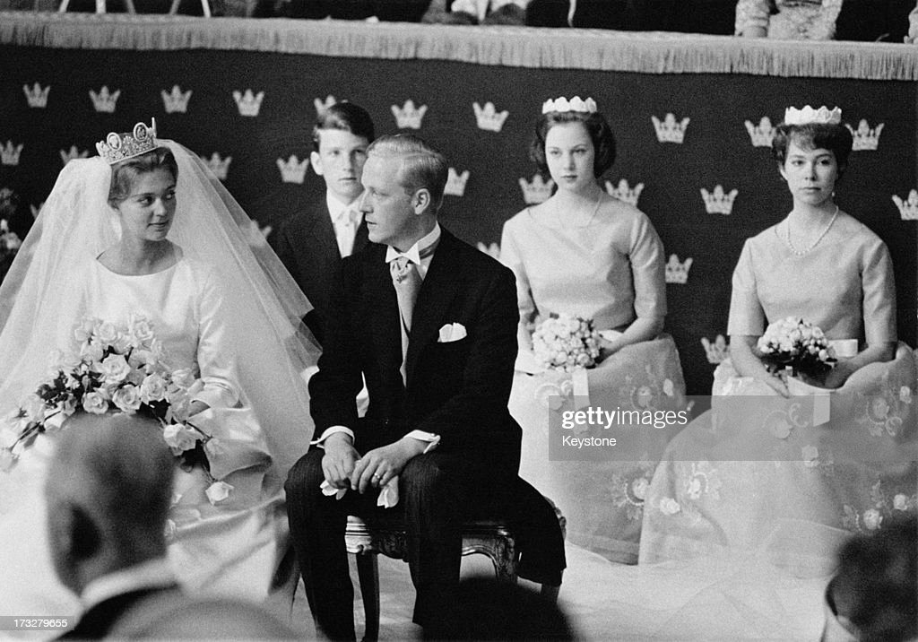 Princess Birgitta of Sweden marries Prince Johann Georg of Hohenzollern in a civil ceremony at the Royal Palace of Stockholm, May 1961. In the background are Princess Benedikte of Denmark and Princess Christina of Sweden.