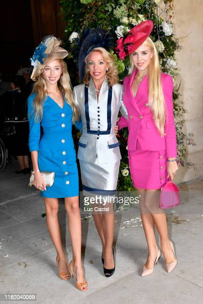 Princess Camilla de Bourbon Siciles with her daughters Maria Carolina de Bourbon Siciles and Maria Chiara de Bourbon Siciles attend the Wedding of...