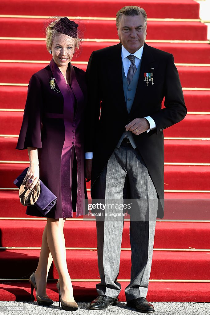 Princess Camilla, Duchess Of Castro and Duke Of Castro arrive at the Cathedral of Monaco during the official ceremonies for the Monaco National Day at Cathedrale Notre-Dame-Immaculee de Monaco on November 19, 2014 in Monaco, Monaco.