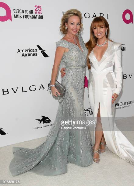 Princess Camilla Duchess of Castro and Jane Seymour attends Elton John AIDS Foundation 26th Annual Academy Awards Viewing Party at The City of West...