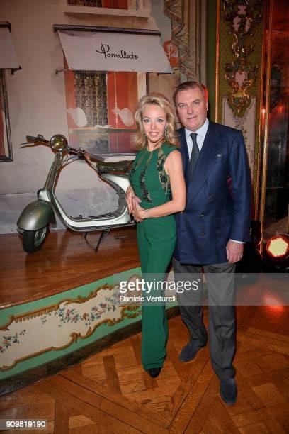 Princess Camilla Duchess of Castro and Prince Carlo Duke of Castro attend the Cocktail Dinner for the new Pomellato campaign launch with Chiara...