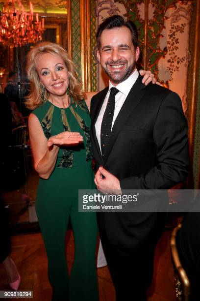 Princess Camilla Duchess of Castro and Stephane Gerschel attend the Cocktail Dinner for the new Pomellato campaign launch with Chiara Ferragni as...