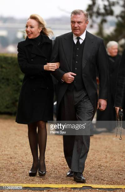Princess Camilla of Bourbon Sicile and her husband Prince Charles of Bourbon Sicile attend the Funerals Of Prince Henri Of Orleans Count Of Paris At...