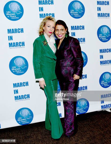 H Princess Camilla of Bourbon Two Sicilies Duchess of Castro and Muna Rihani AlNasser Smile at the UNWFPA Annual Awards Luncheon on March 8 2018 in...