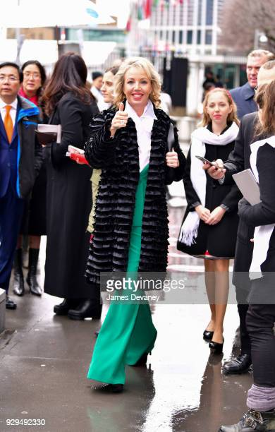 H Princess Camilla of Bourbon Two Sicilies Duchess of Castro arrives to United Nations Headquarters on March 8 2018 in New York City