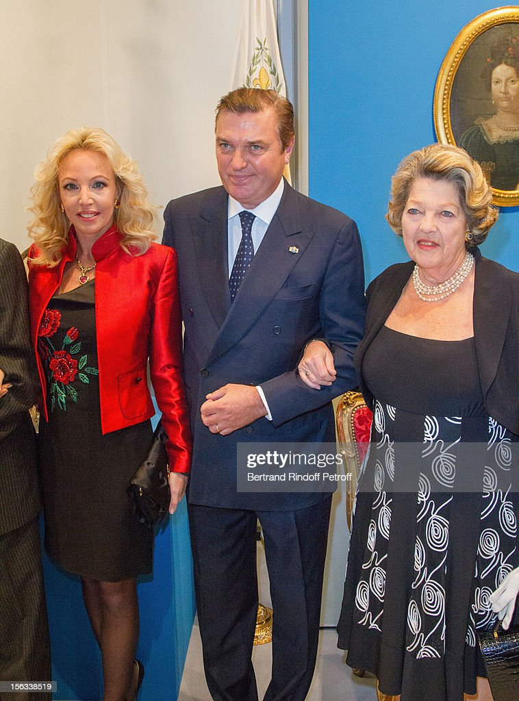 Princess Camilla of Bourbon-Two Sicilies, her huband Prince Charles of Bourbon-Two Sicilies and Princess Chantal de France attend the Royal House of Bourbon-Two Sicilies Exhibition on November 13, 2012 in Paris, France.