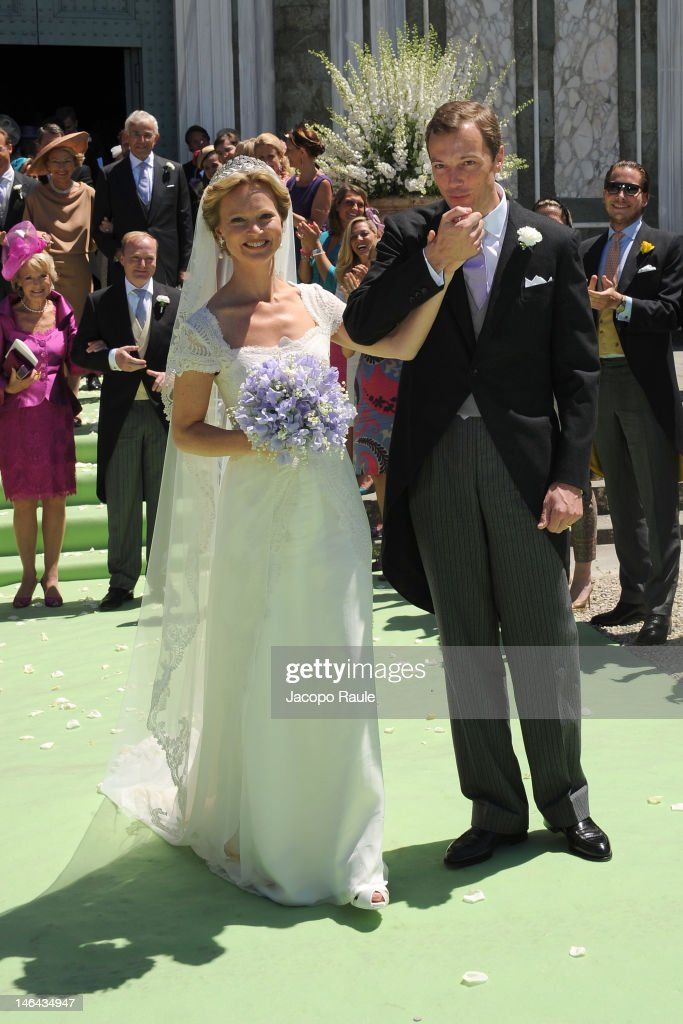 Princess Carolina de Borbon Parma and Albert Brenninkmeijer leave the Basilica di San Miniato al Monte after their wedding on June 16, 2012 in Florence, Italy.