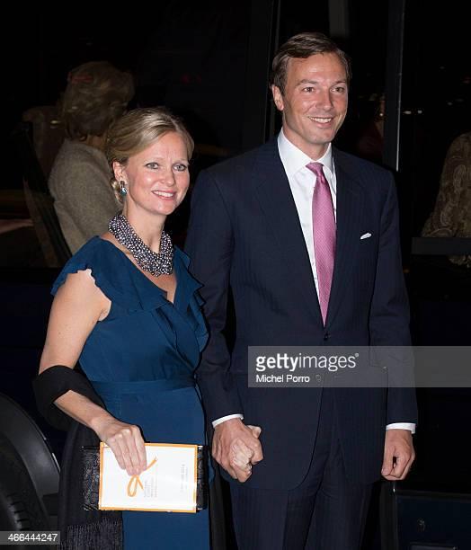 Princess Carolina de Bourbon de Parme and Albert Brenninkmeier leave after attending a celebration of the reign of Princess Beatrix on February 1...