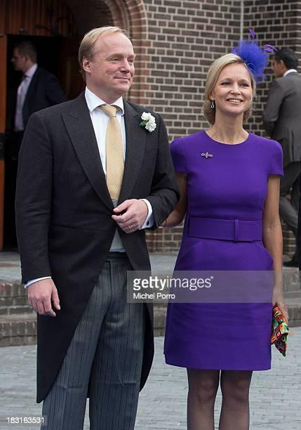 Princess Carolina de Bourbon de Parme and Prince Carlos attend the wedding of Prince Jaime de Bourbon Parme and Viktoria Cservenyak at The Church Of...