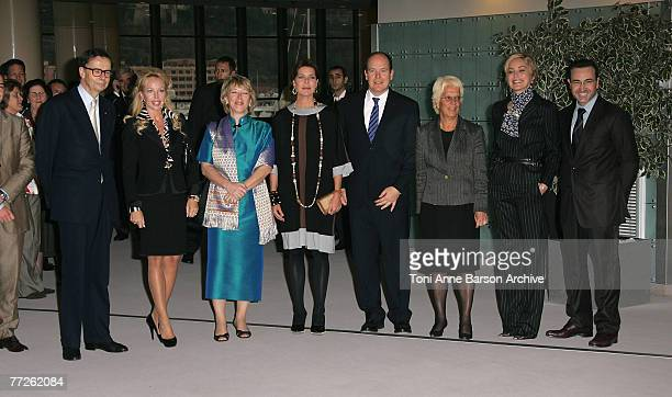 Princess Carolina of Hanover and HSH Prince Albert II of Monaco Carla del Ponte actress Sharon Stone and guests pose at the International Rendez Vous...