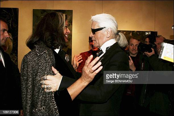 Princess Caroline And Daughter Charlotte At The Exhibition Of Photographs By Karl Lagerfeld On November 16 2004 In Paris France Betty Lagardere And...