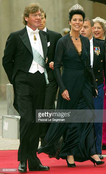 Princess Caroline and husband Prince Ernst August of Hanover arrive to attend the wedding between Danish Crown Prince Frederik and Miss Mary...