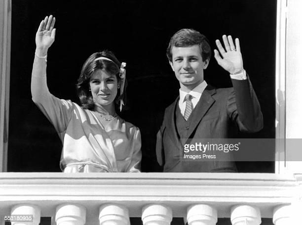 Princess Caroline and Stefano Casiraghi celebrate their wedding circa 1983 in Monaco.