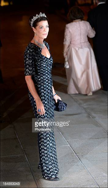 Princess Caroline de Monaco arrives at the Gala Dinner for the wedding of Prince Guillaume Of Luxembourg and Stephanie de Lannoy at the Hotel De...