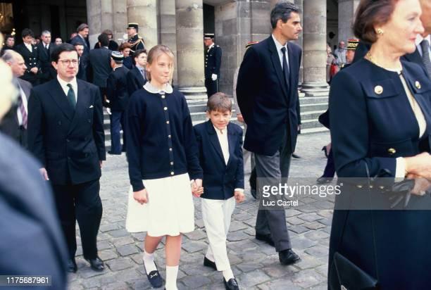 Princess Caroline Marie Constance Napoleon Prince JeanChristophe Napoleon Prince Charles Napoleon Princesse Alix Napoleon attend the mass given in...