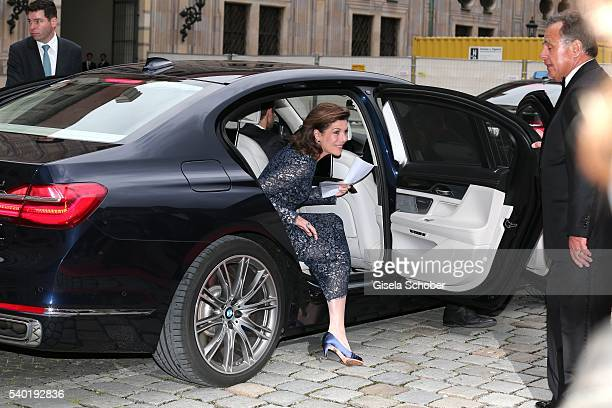 Princess Caroline of Hannover arrives to a charity dinner hosted by AMADE Deutschland and Roland Berger Foundation at Kaisersaal der Residenz der...