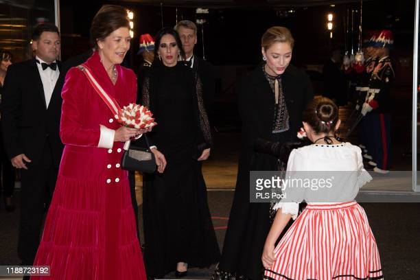 Princess Caroline of Hanover and Beatrice Borromeo attend the gala at the Opera during Monaco National Day celebrations on November 19 2019 in...