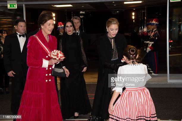 Princess Caroline of Hanover and Beatrice Borromeo attend the gala at the Opera during Monaco National Day celebrations on November 19, 2019 in...