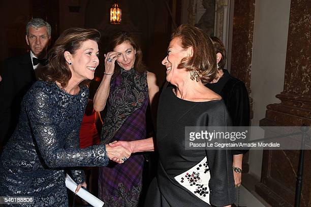 Princess Caroline of Hanover and Bunte journalist Marie Waldburg attend the AMADE Deutschland Charity dinner on June 14 2016 in Munich Germany