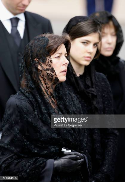 Princess Caroline of Hanover and Charlotte Casiraghi arrive to the funeral of Monaco's Prince Rainier III at Monaco Cathedral on April 15 2005 in...