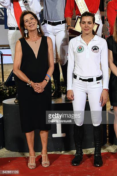 Princess Caroline of Hanover and Charlotte Casiraghi attend Longines Global Champions Tour of Monaco on June 24 2016 in Monaco Monaco