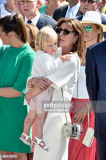 Princess Caroline of Hanover and grandson Sasha Casiraghi attend the First Day of the 10th Anniversary on the Throne Celebrations on July 11 2015 in...