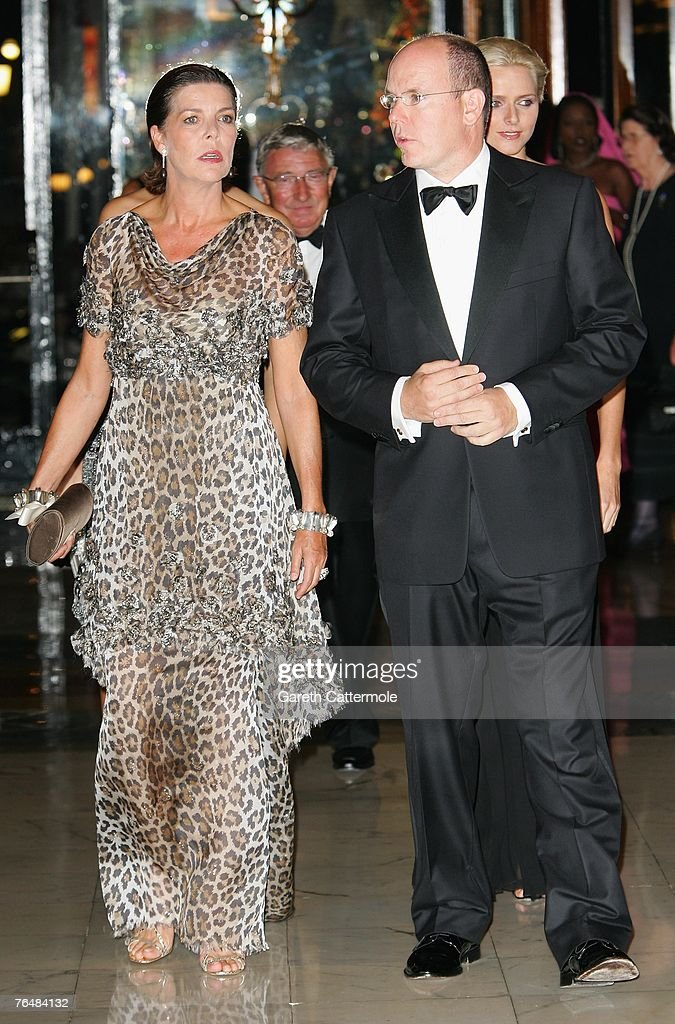 Princess Caroline of Hanover and her brother, Prince Albert II of Monaco arrive at the 'Unite For A Better World Gala Dinner' on September 2, 2007 at the Hotel de Paris in Monte Carlo, Monaco. The gala dinner is attended by over 350 guests, which will raise funds for the Amade Mondiale, the Nelson Mandela Foundation, the Nelson Mandela Children's Fund, and The Mandela Rhodes Foundation.