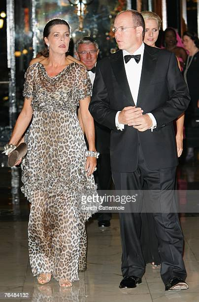 Princess Caroline of Hanover and her brother Prince Albert II of Monaco arrive at the 'Unite For A Better World Gala Dinner' on September 2 2007 at...