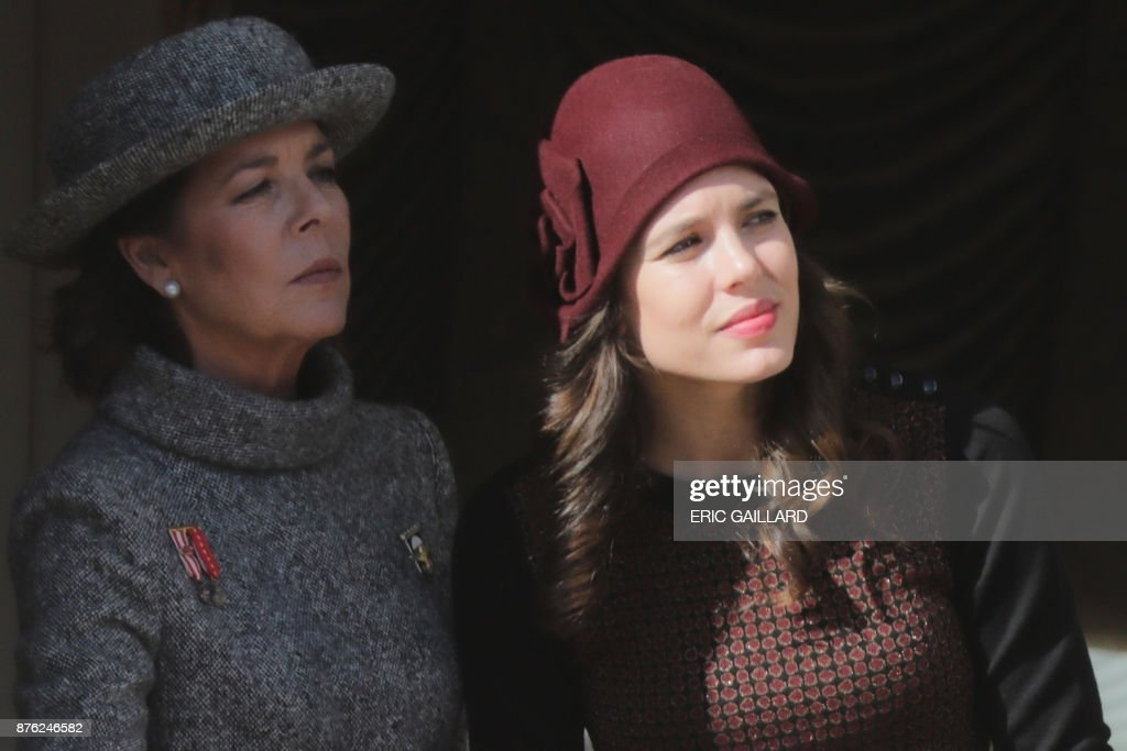 Princess Caroline of Hanover and her daughter Charlotte Casiraghi attend celebrations marking Monaco's National Day on November 19, 2017 in Monaco. /