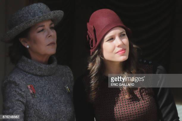 Princess Caroline of Hanover and her daughter Charlotte Casiraghi attend celebrations marking Monaco's National Day on November 19 2017 in Monaco /...