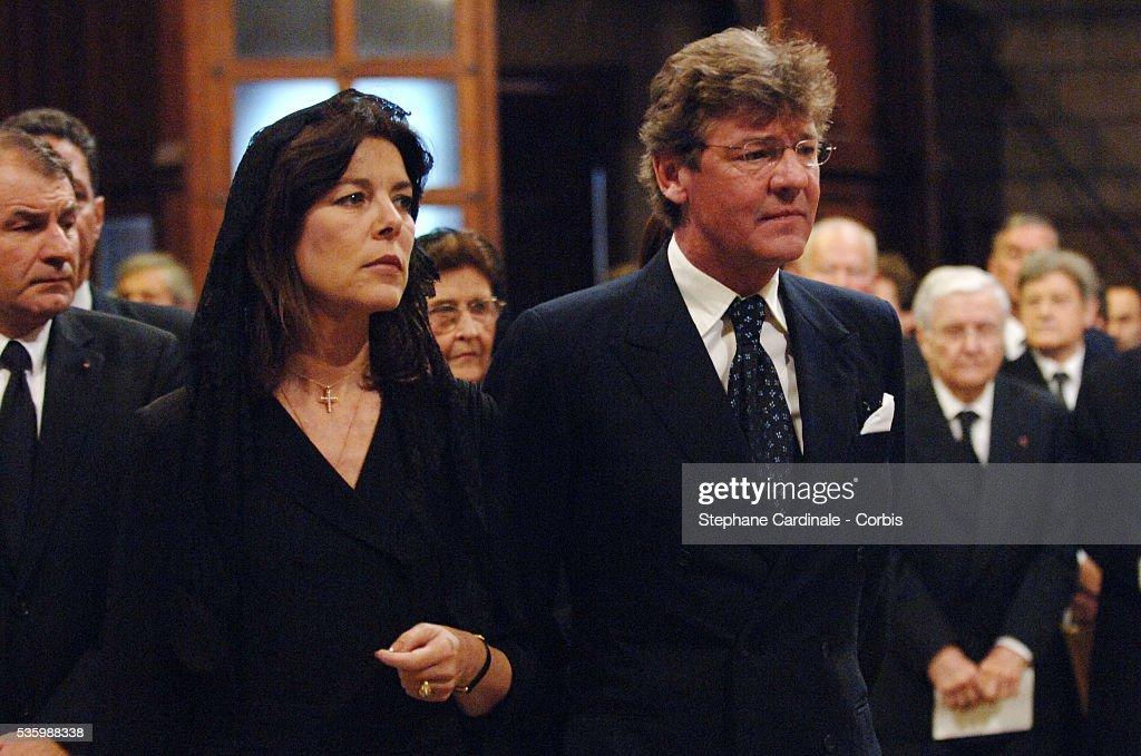 HRH Princess Caroline of Hanover and HRH Ernst August of Hanover at the mass marking the first anniversary of Prince Rainier III's death.