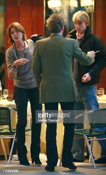 Princess Caroline of Hanover and husband Prince Ernest of Hanover sighting having lunch with her sons Prince Andrea and Prince Pierre Casiraghi at...
