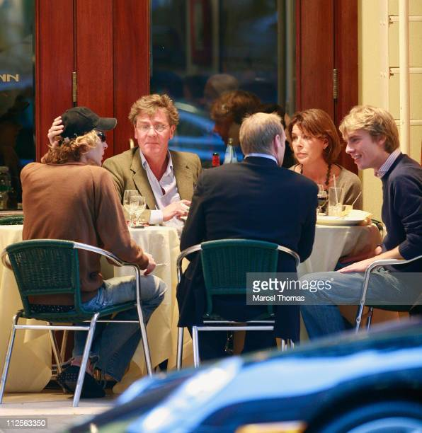 Princess Caroline of Hanover and husband Prince Ernest of Hanover sighting having lunch with their sons Prince Pierre Casiraghi and Prince Andrea...