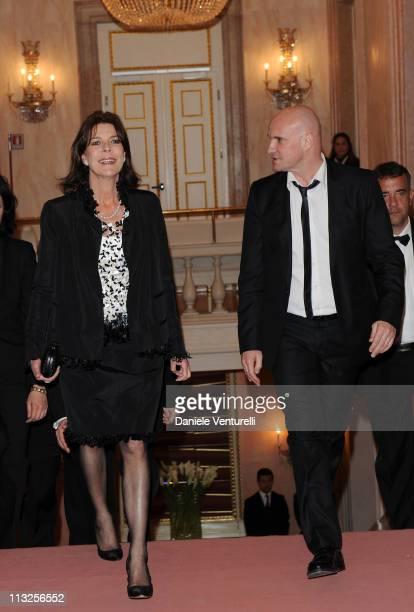 "Princess Caroline of Hanover and Jean Chistophe Maillot attend the Le Ballets de Monte-Carlo ""Cendrillion"" Gala Evening Bottega Veneta, at Teatro..."