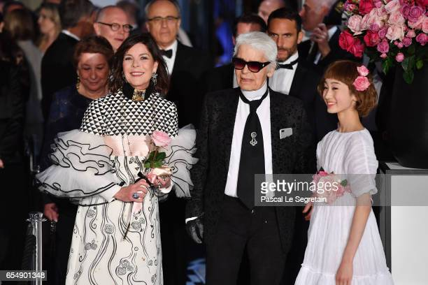 Princess Caroline of Hanover and Karl Lagerfeld arrive at the Rose Ball 2017 To Benefit The Princess Grace Foundation at Sporting Monte-Carlo on...